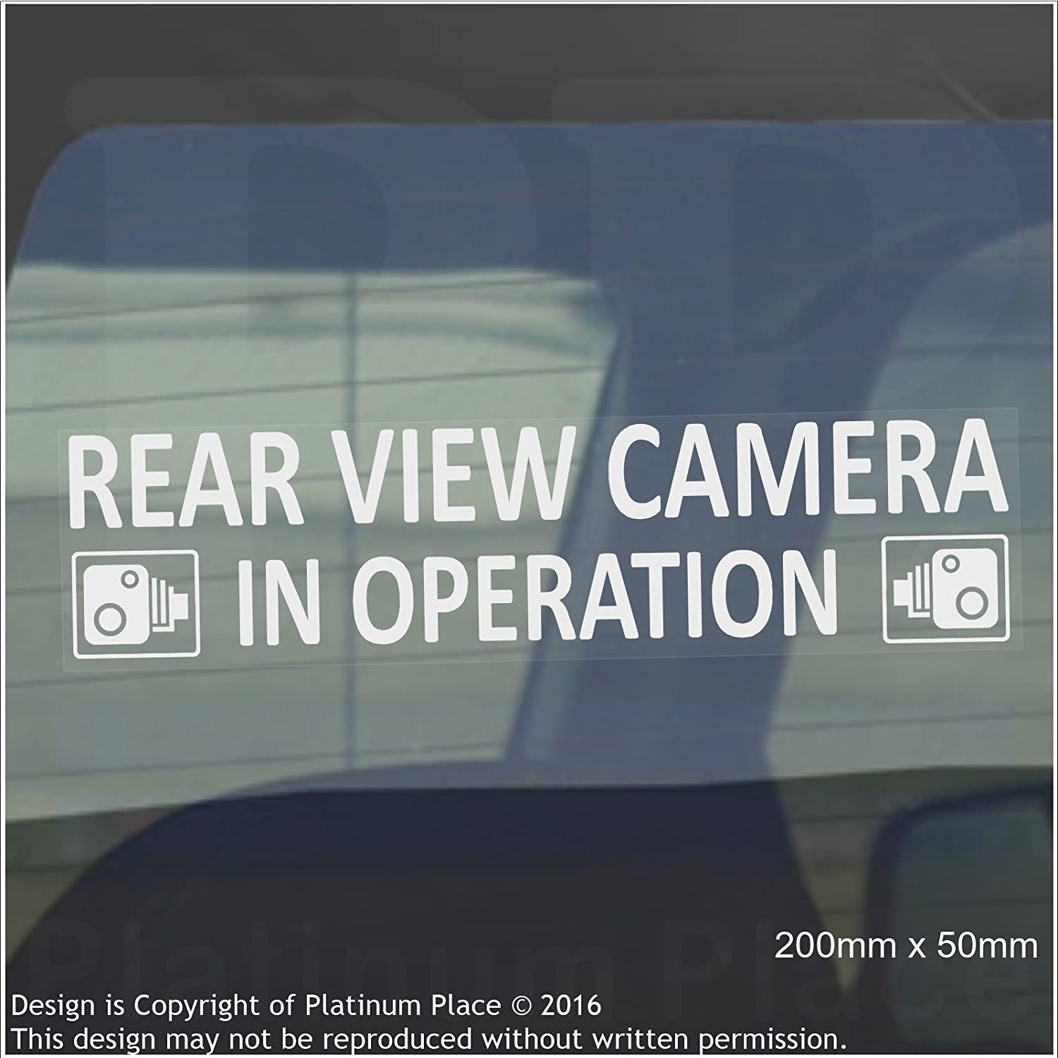 CCTV Sign-Van,Lorry,Truck,Taxi,Bus,Mini Cab,Minicab Safety and Security-Go Pro,Dashcam Platinum Place 2 x INTERNAL Window 200 x 50mm-Rear View Camera In Operation Warning Stickers-White on Clear-