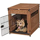 PetSafe Solvit Mr. Herzher's Indoor Pet Home, Dark Brown Wicker Crate for Dogs