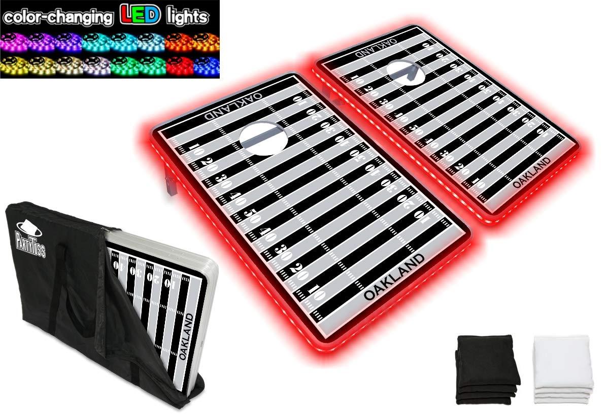 PartyPongTables.com コーンホール - オークランド フットボール 3フィート x 2フィート アルミニウム コーンホール 厚いボード面 ゲームセット - LEDライト - 頑丈なアルミフレーム - 厚いボード面 B07HD1PVWM Parent, クレシ:cecb5737 --- harrow-unison.org.uk