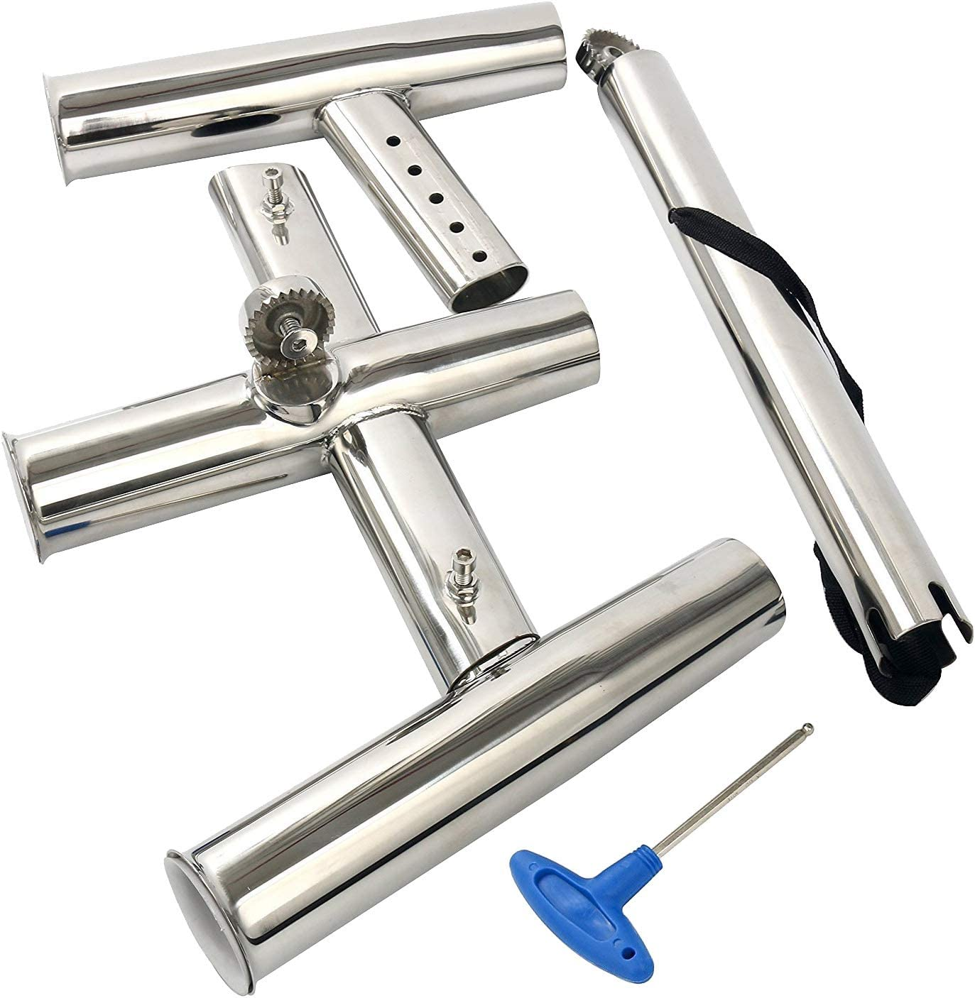 Triple Rod Holder 3 Tubes Stainless Steel Trident Outrigger Stylish Rod Holder