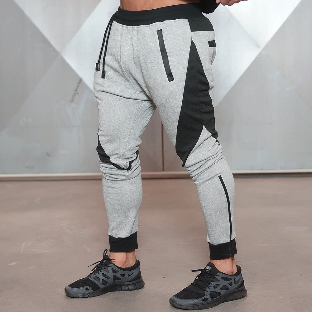 LANGCHEN Mens Gym Jogger Running Pants Casual Slim Fit Sweatpants Workout Jogging Bottoms with Zipper Pockets