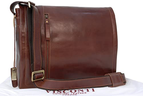 Visconti VT5 Vintage Tan Genuine Leather Messenger Bag  Handbag Cross-body