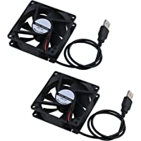 BQLZR Cooling Fan 5V 80x80mm High Speed Fan for Computer Case PC USB Pack of 2 Black