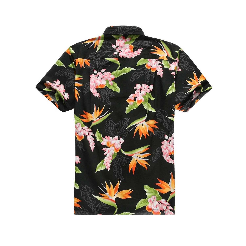 Made in Hawaii Mens Hawaiian Shirt Aloha Shirt in Tropical Floral Bird of Paradise Black