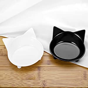 Cat Bowls Set of 2,Shallow Cat Food Bowls Whisker Fatigue Stress Relief, Non-Slip Cat Dishes for Food, Cat Feeder Cat Water Bowl Black and White Color