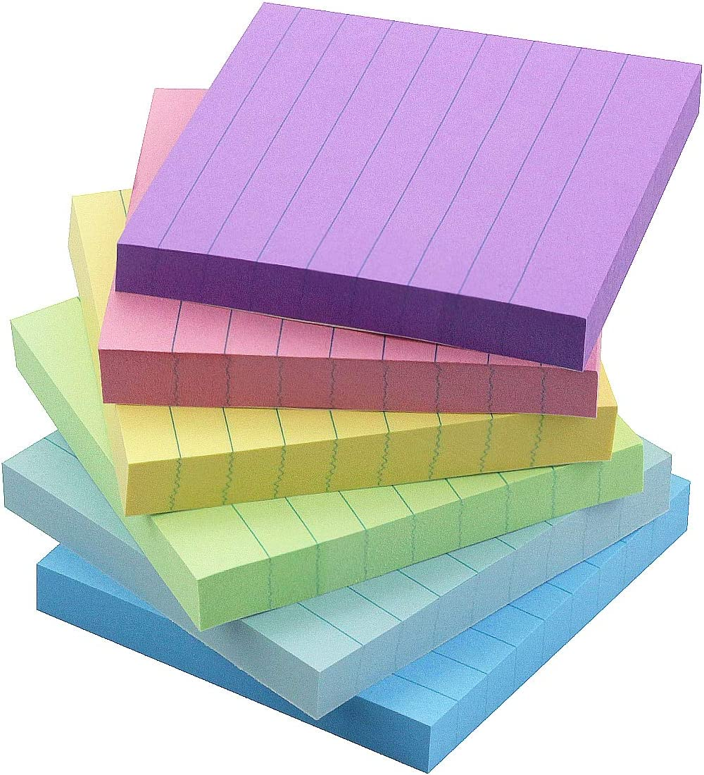 Early Buy 6 Candy Color Lined Sticky Notes Self-Stick Notes 3 in x 3 in, 100 Sheets/Pad, 12 Pads/Pack
