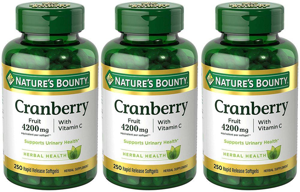 Cranberry with VIT C 4200 mg, 250 Softgels (3 Bottles)