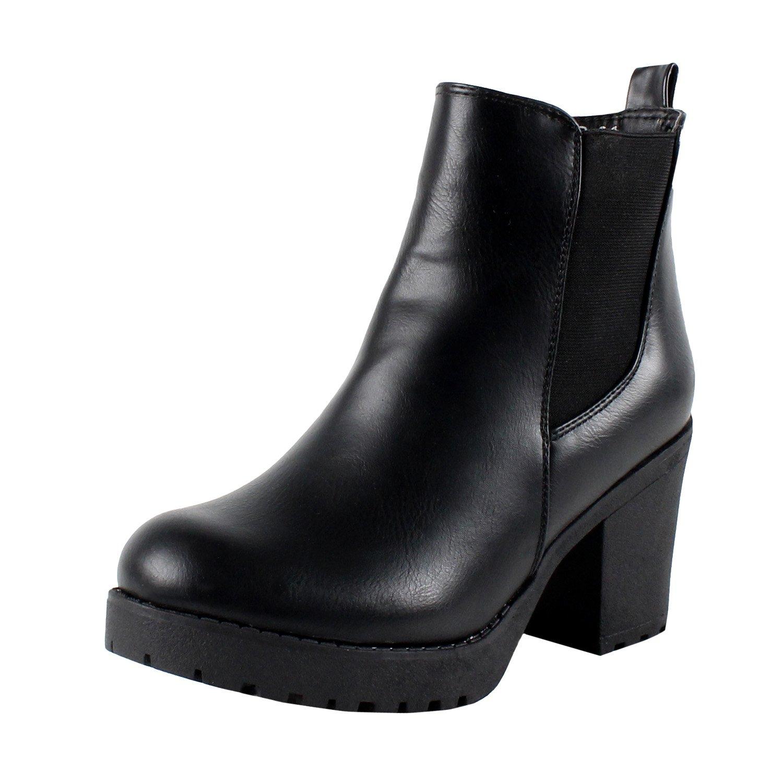 Refresh Club-01 Women's Elastic Panel Slip On Chunky Heel Ankle Booties,Black (8) by REFRESH
