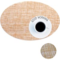 Heat Insulation Placemat Oval Shape Stain Resistant Washable Woven Table Mat Placemat