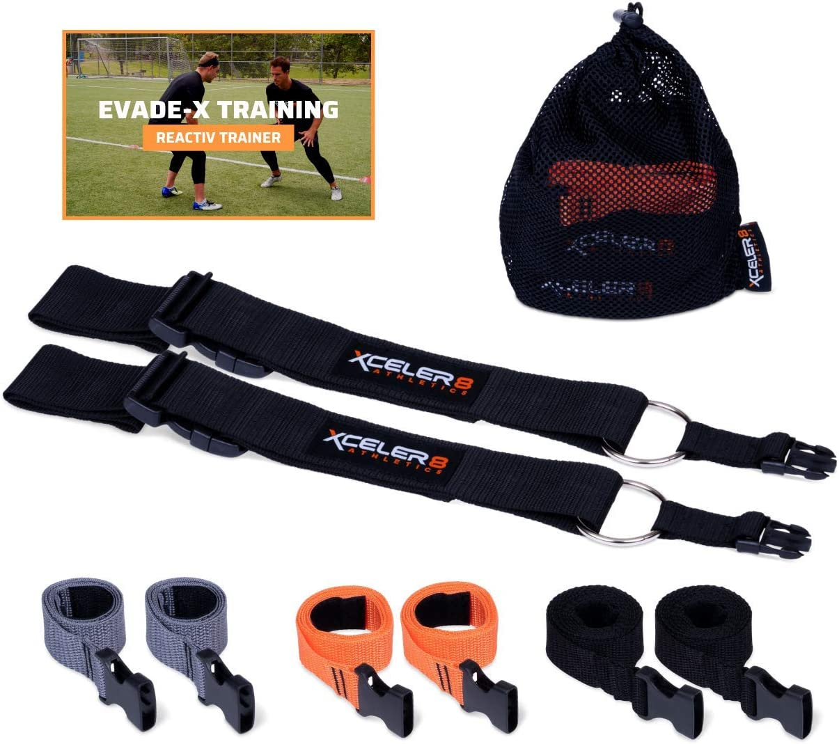 REACTIV TRAINER Evasion Belt 1 3 Pack 1v1 Agility Reaction Belt Coaching Equipment – Soccer, Basketball, Football, Lacrosse Defensive Trainer Adult Youth Plus Training Videos