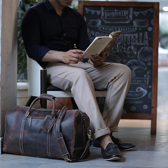 金盒特价 Rustic Town手工制作 水牛皮 旅行包 行李包 7.5折$149.99 海淘转运到手约¥1214 两色可选