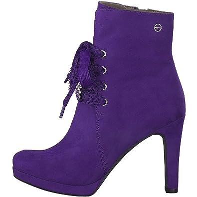 Tamaris - Botines de Lona Mujer, Color Morado, Talla 41 EU: Amazon.es: Zapatos y complementos