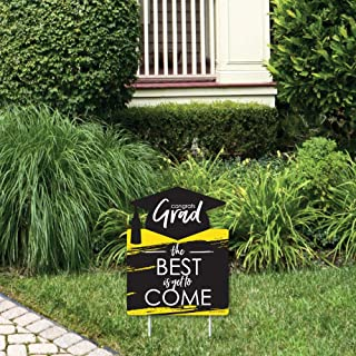 product image for Big Dot of Happiness Yellow Grad - Best is Yet to Come - Outdoor Lawn Sign - Yellow Graduation Party Yard Sign - 1 Piece