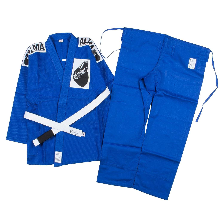 ALMA(アルマ) 海外製柔術着 [白帯付] JU2-A B007AJ3PQK A4|青 青 A4