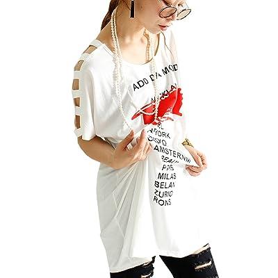 (Goldjapan) ゴールドジャパン 大きいサイズ レディース ロゴ プリント Tシャツ レース カットソー ワークショルダー 半袖