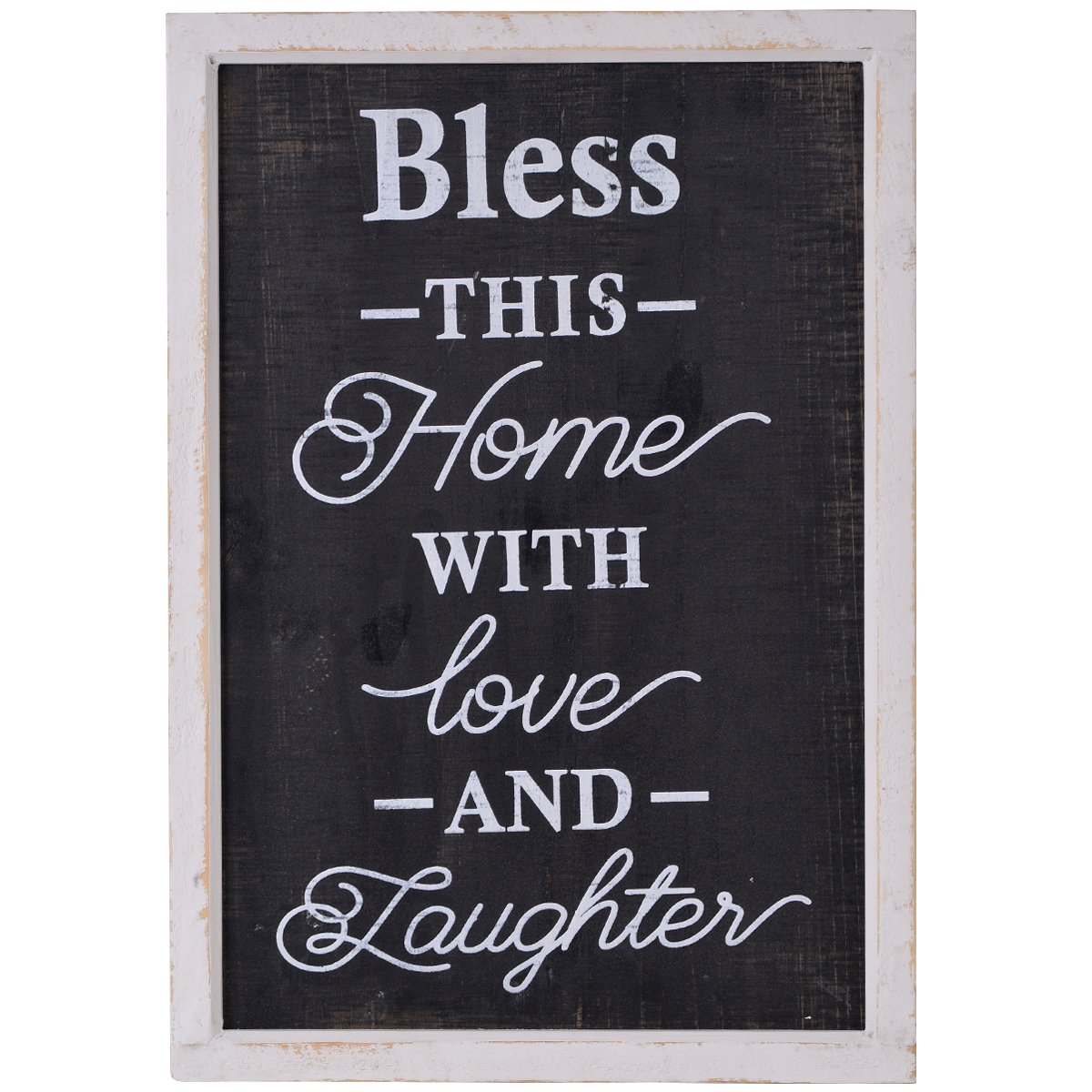 "NIKKY HOME 14"" x 20"" Rustic Wood Framed Wall Sign Plaque with Quote Bless This Home with Love and Laughter"