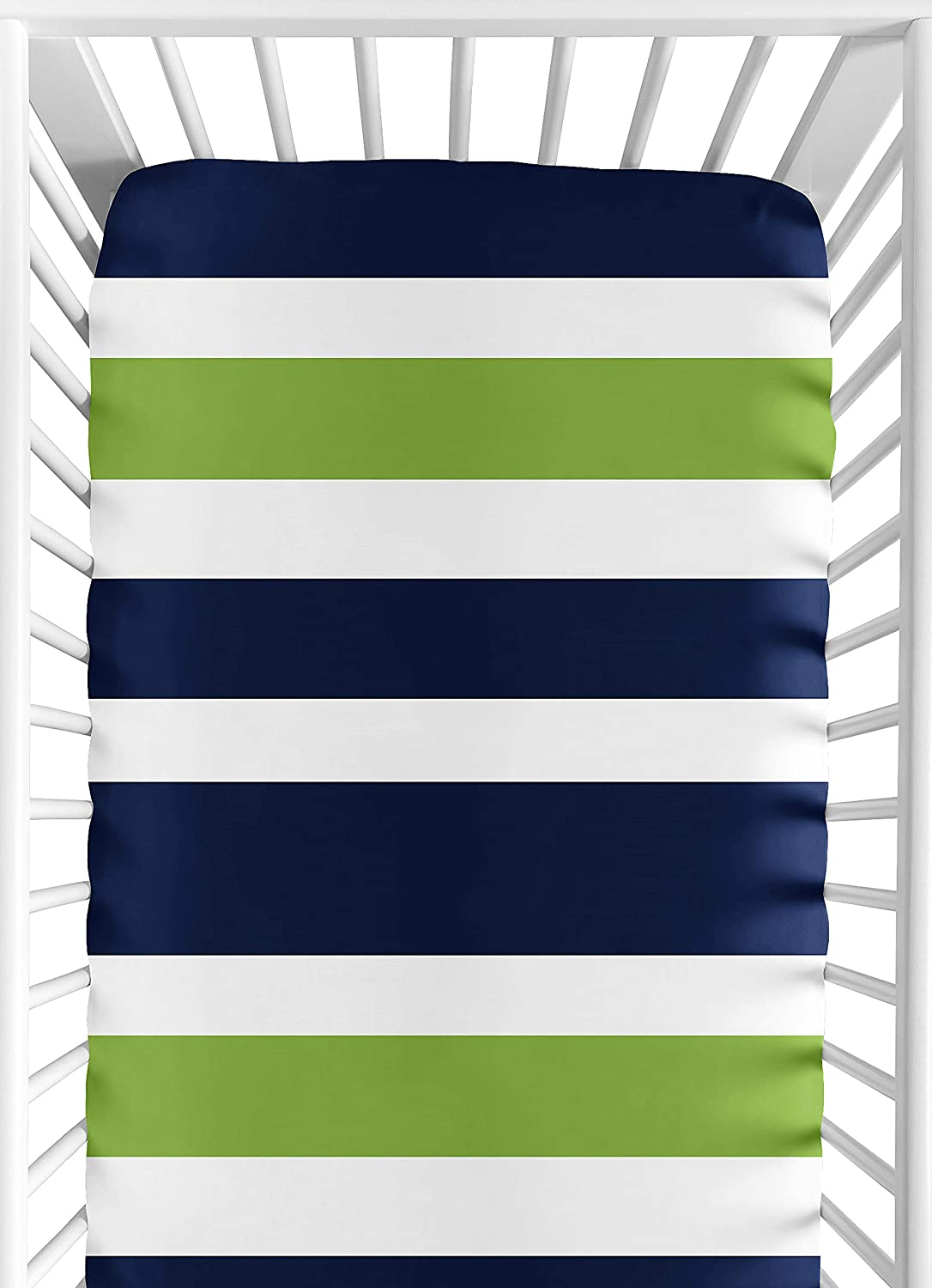 Sweet Jojo Designs Fitted Crib Sheet for Navy Blue and Lime Green Baby/Toddler Bedding Set Collection - Stripe Print