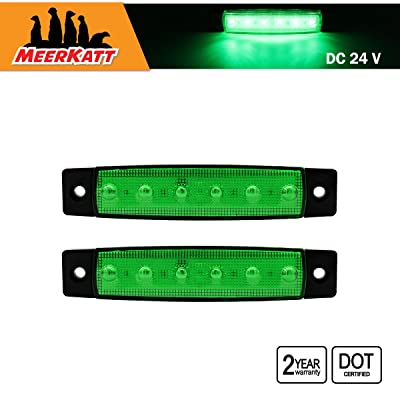 Meerkatt (Pack of 2) 24v DC 3.8 Inch Green 6 LED Side Marker Indicators Light 2835 SMD Navigation Clearance Lamp Fender Tail Rear License Decoration Truck Trailer Bus Lorry Boat Camper TK24: Automotive