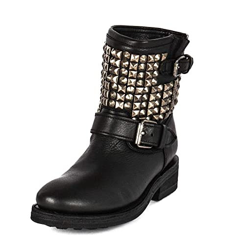 35a757a36d Ash Tennesse Nickel Studded Black Leather Biker Boots: Amazon.co.uk ...