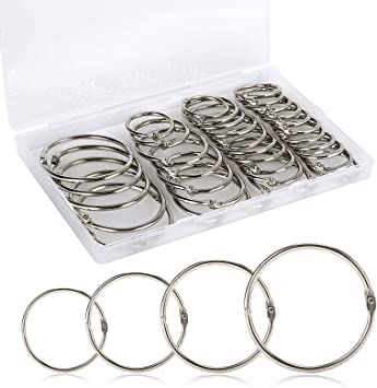 """1/"""" 1-Inch 10-Count Loose Leaf Binder Rings Book Ring Keychain Silver"""