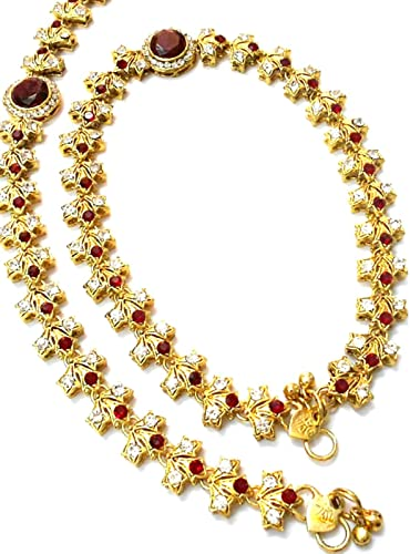 Banithani Bollywood Indian Ethnic Goldtone Crystal Bead Anklet Traditional Jewelry