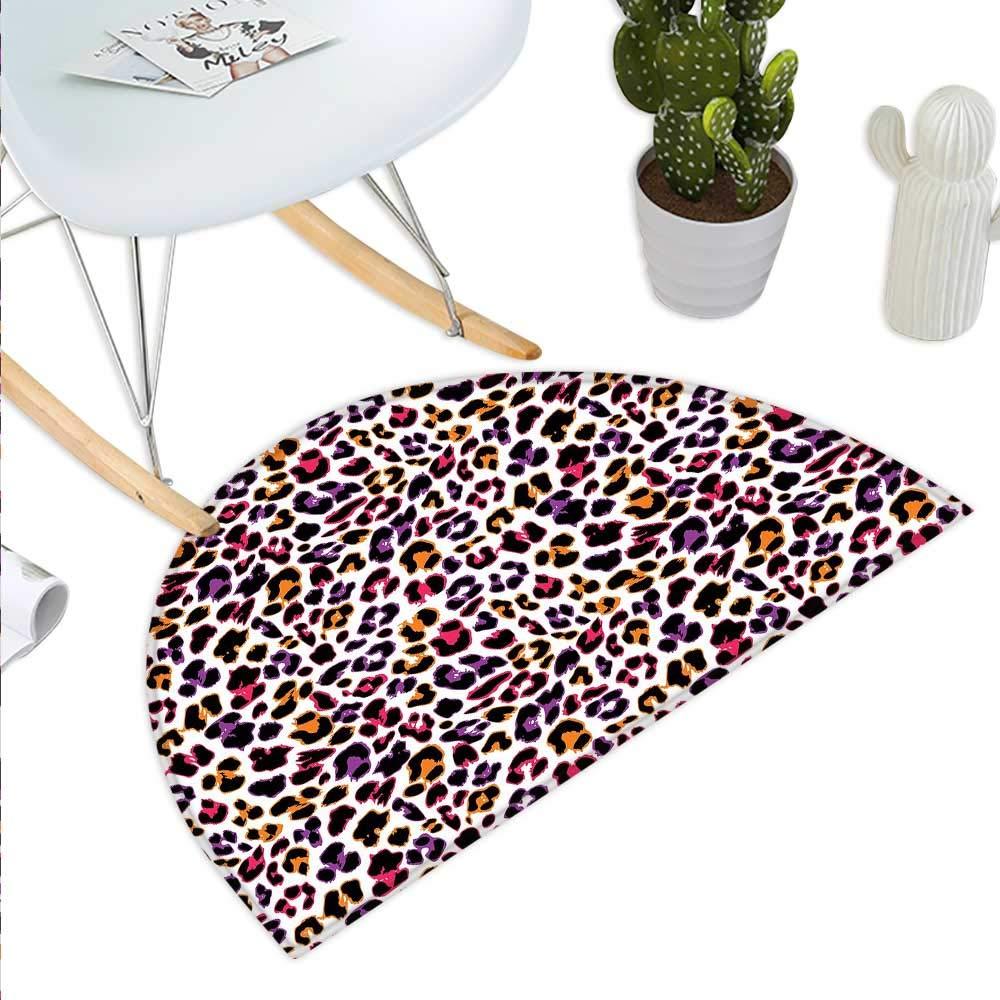 color09 H 43.3  xD 64.9  African Semicircle Doormat Indigenous Abstract Shapes Cheetah Motif Jungle Animal Skin Motif Halfmoon doormats H 27.5  xD 41.3  Dark Maroon Beige Brown