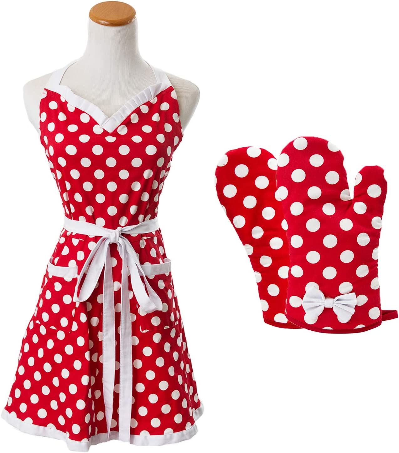 Houseables Polka Dot Apron, Red & White, Retro, Adjustable, One Size, w/Oven Mitts, Cotton, Kitchen Dress w/Pockets, Sleeveless, for Cooking, Baking, Party, Salon, Gift, Women, Ruffle Bib, Vintage