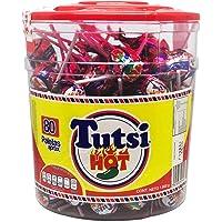 Tutsi Hot paletas de caramelo sabor cereza con chile 80 piezas ideal para tus fiestas y eventos.