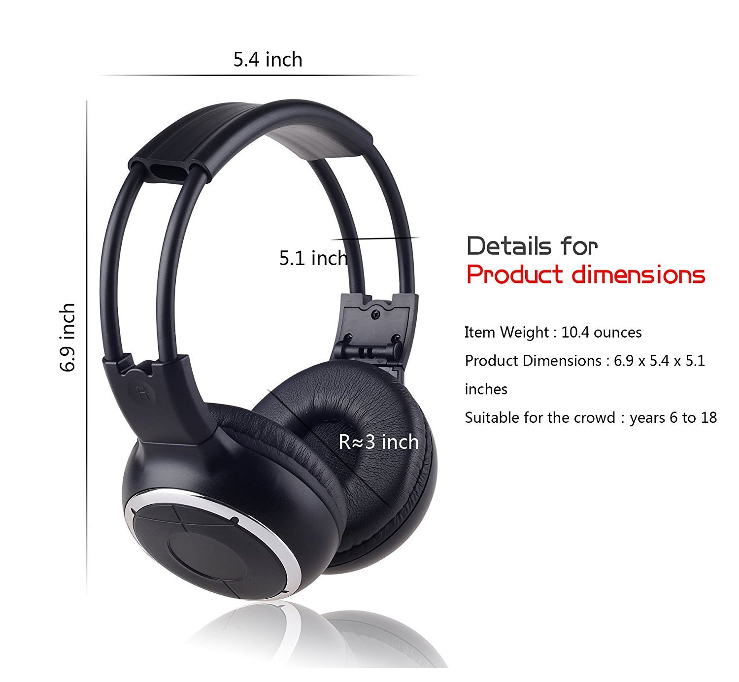 Two Channel Folding Adjustable Universal Rear Entertainment System Infrared Headphones for in Car TV Video Audio Listening SainStore Inc LeaningTech 2 Pack of IR Wireless Two-Channel Foldable Headphone LTC IR Headphone