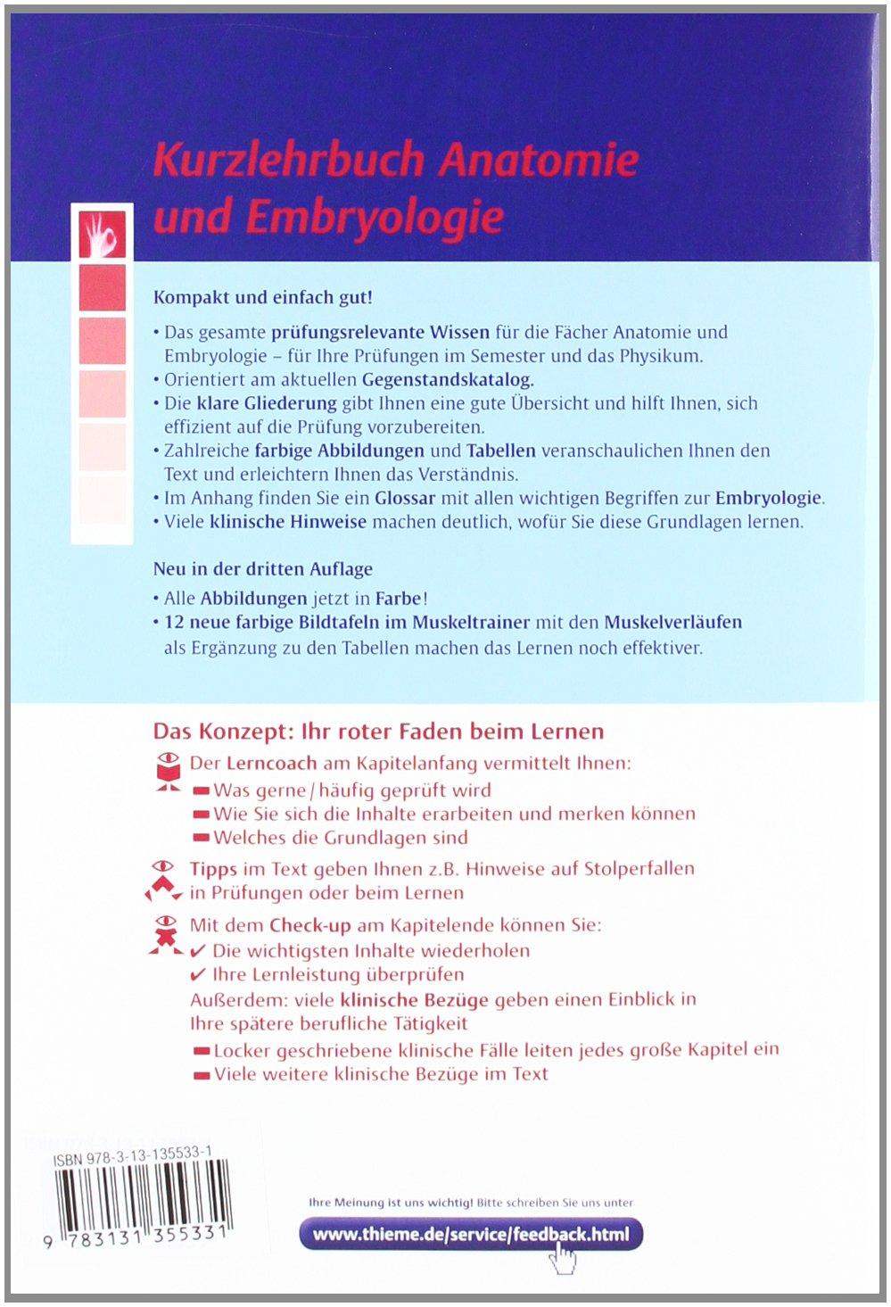 Kurzlehrbuch Anatomie: und Embryologie - Ulrike Bommas-Ebert ...