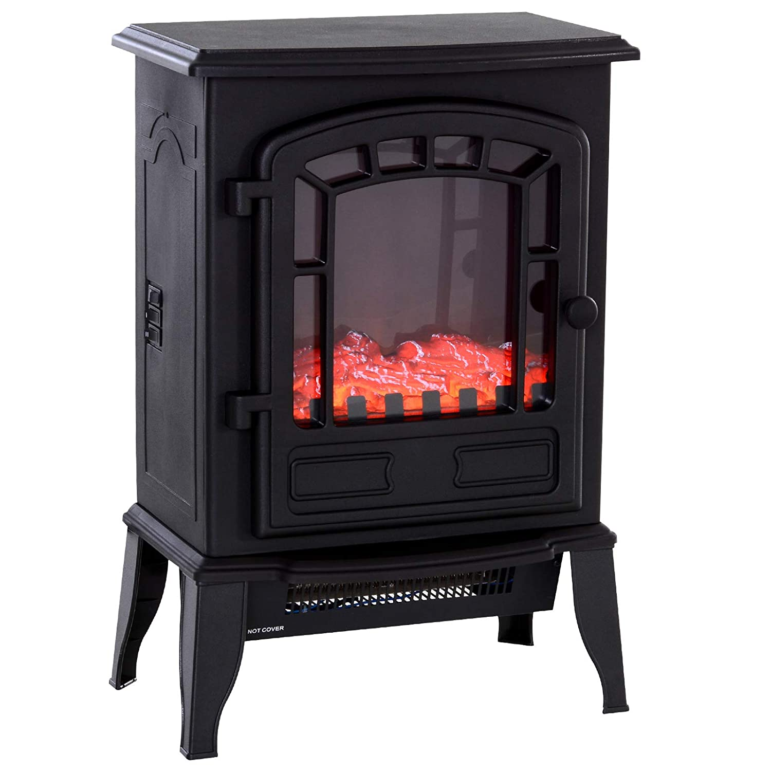 HOMCOM Freestanding 1500W Steel Electric Fireplace Stove Space Heater Infrared LED, 9.5 W, Black