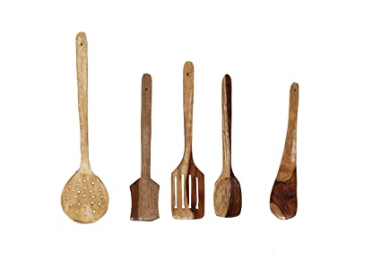 Brilliant R Crafts Handmade Wooden Non Stick Serving And Cooking Spoons Kitchen Tools Utensil Set Of 5 Download Free Architecture Designs Grimeyleaguecom
