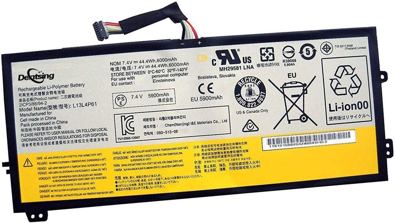 Dentsing L13L4P61 (7.4V 44.4Wh/5900mAh) Laptop Battery Compatible with Lenovo Edge 15 80H1 Series Notebook L13S4P61 L13M4P61 2ICP3/86/94-2