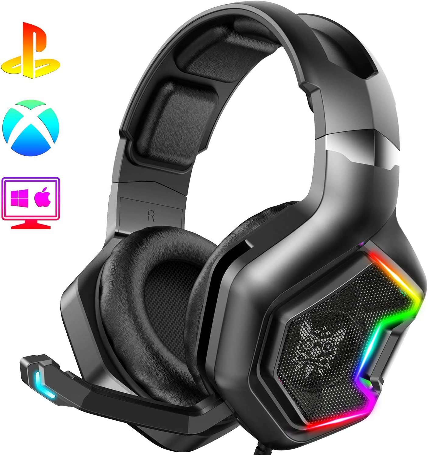 2020 Gaming Headset Mic LED Headphones