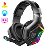 ONIKUMA Gaming Headset -Xbox One Headset PS4 Headset with 7.1 Surround Sound Pro Noise Canceling Gaming Headphones with Mic & RGB LED Light Compatible with PS4, Xbox One, Nintendo Switch, PC, PS3, Mac