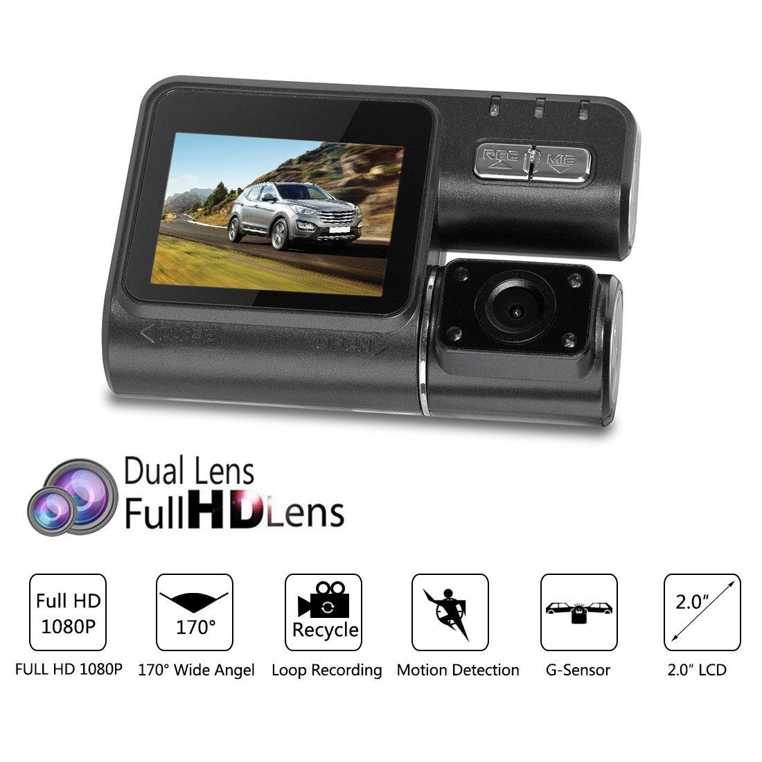 ... 1080P 170 Amplio Ángulo de cámara Dual conducción de automóviles de vídeo grabadora Digitial Dash Cam w G-Sensor de detección de movimiento de grabación ...