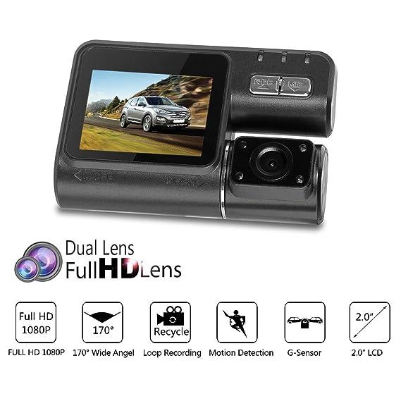 Amazon.com: eDealMax 2.0 pulgadas HD 1080P 170 Amplio Ángulo de cámara Dual conducción de automóviles de vídeo grabadora Digitial Dash Cam w G-Sensor de ...