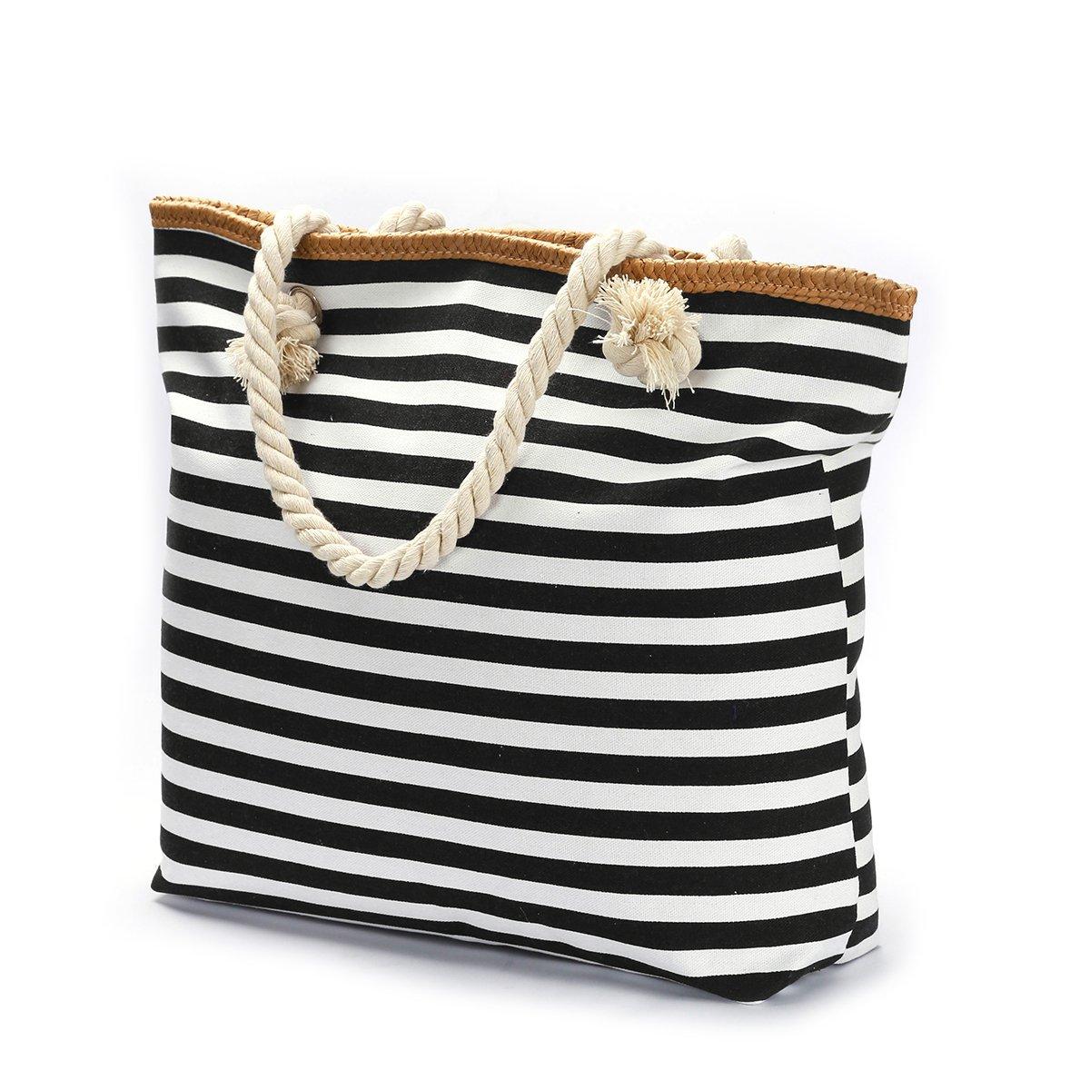 We We Beach Bag Waterproof Canvas Tote Straw Bag - Large (Style 02)