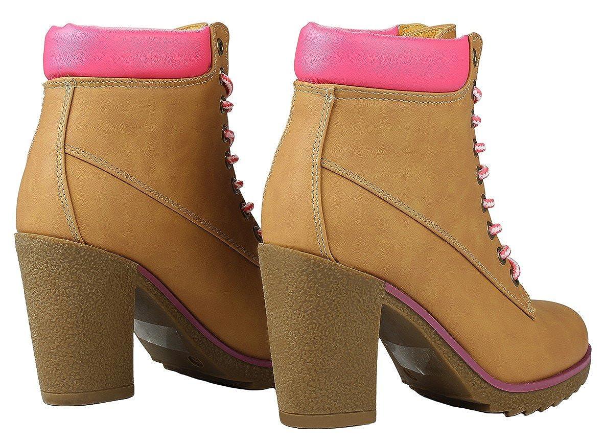 Women JOJO Tan//Fuchia Military Two Tone Lace Up Platform Chunky High Heel Ankle Booties
