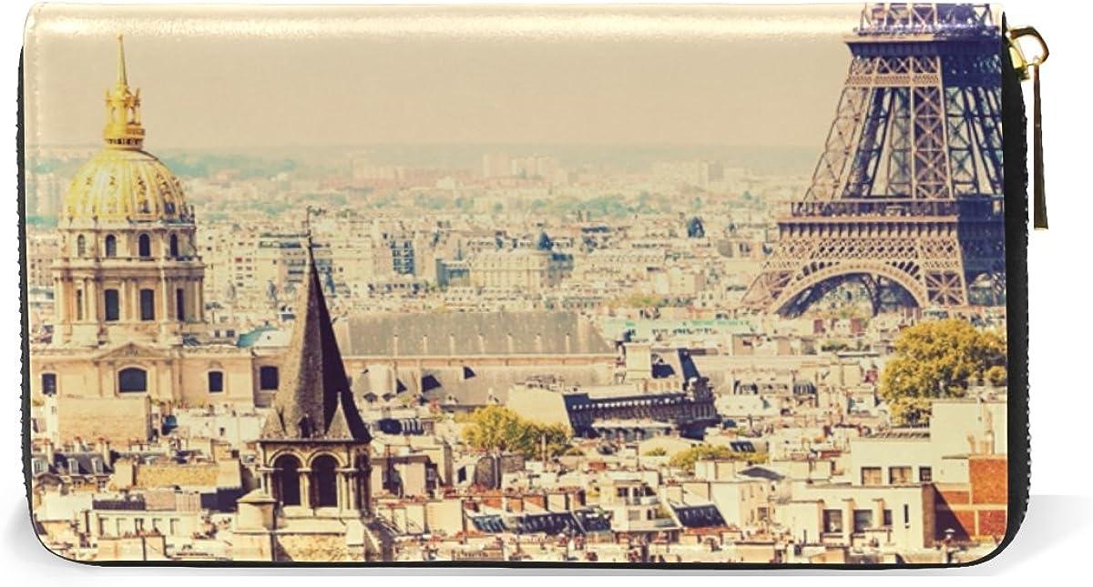 MAPOLO Vintage Paris Town Landscape Eiffel Tower Maple Leaf Print Womens Clutch Purses Organizer And Handbags Zip Around Wallet