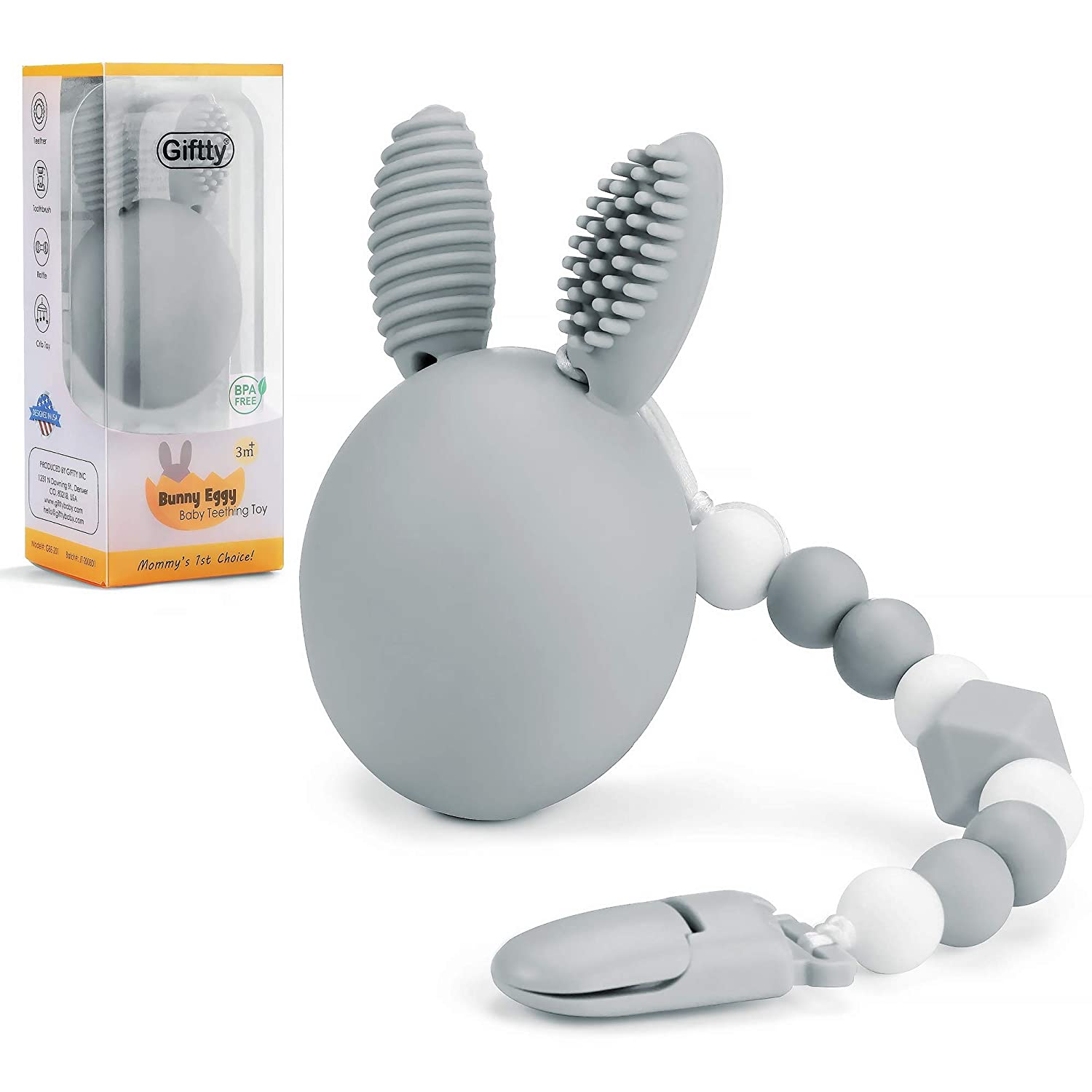 Bunny Eggy Teething Toy, Multifunction Teether Toothbrush Rattle Gum Massager Infants Sensory Toy with Silicone Bead Clip and Carry Box, 100% Food-Grade Silicone, Safe for Baby Boys and Girls (Gray)