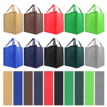 Amazon.com - Reusable Reinforced Handle Grocery Tote Bag Large 10 ...
