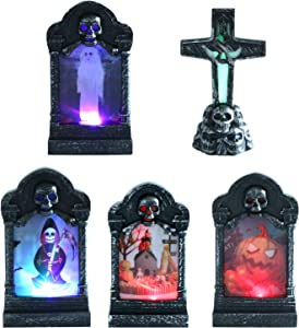 Omigga 5 Pieces LED Graveyard Tombstones Halloween Headstone Light 7 Colors Skull Graveyard Lamp Decorations for Halloween Party Decor Supplies
