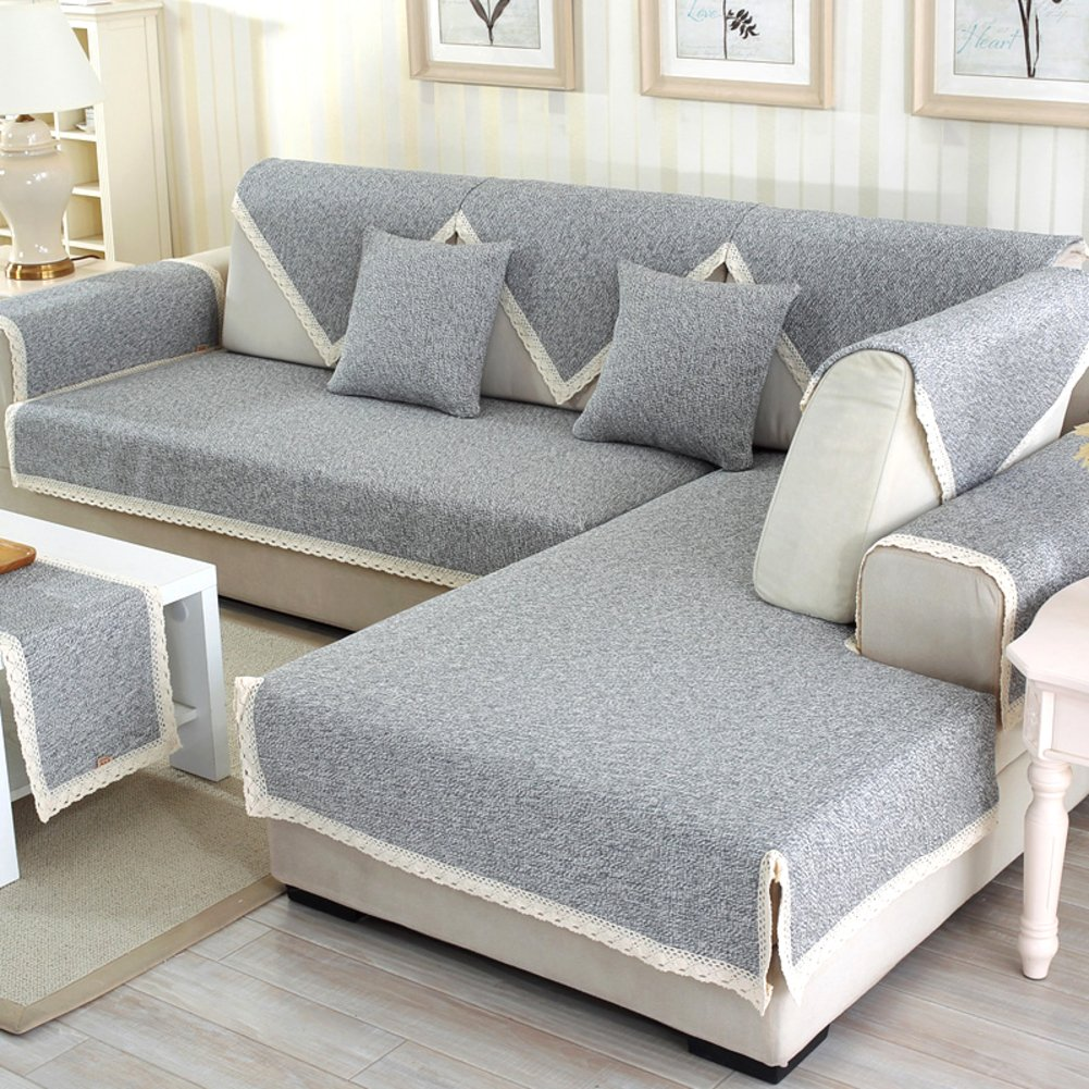 Sofa furniture protector for pet or dog all season,Summer Sectional Slipcovers L shape Washable Solid color Thicken cotton and linen Slip cover-1 piece-B 43x63inch(110x160cm)