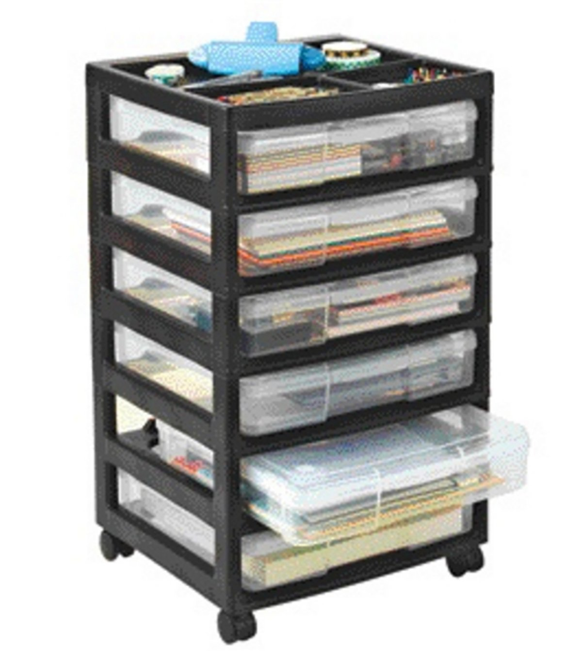 Iris 150721 Project and Scrapbook Carts, 6 Case Chest with Casters, Black IRIS USA Inc