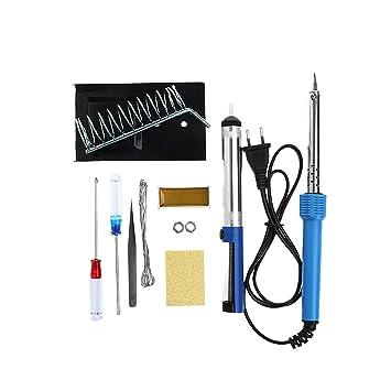 MuZuZi 60W de soldadura eléctrica de hierro soporte de la herramienta de herramientas de destornillador del marco pinzas 220V de soldadura Stick Set 9 in1: ...