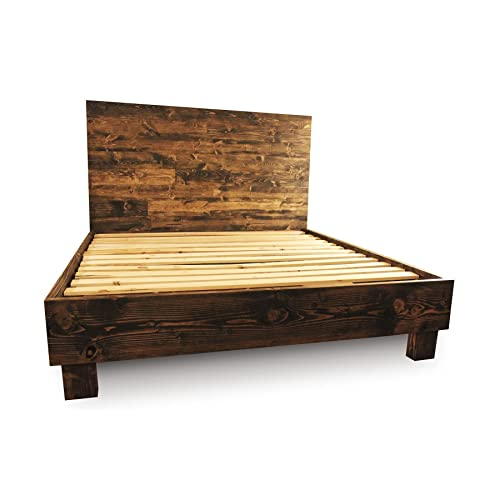 farmhouse bed frame and headboard set reclaimed style rustic and old world - Bed Frames Amazon
