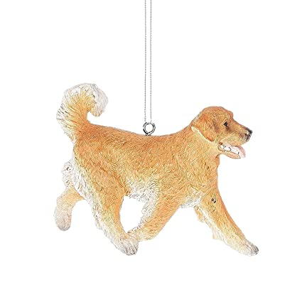 happy golden retriever pet resin stone christmas ornament