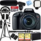 Canon EOS Rebel T7i Digital SLR Camera with EF-S 18-135mm IS STM Kit w/ Tascam DSLR Audio Recorder and Shotgun Microphone + 128GB & 64GB Pro Video Bundle