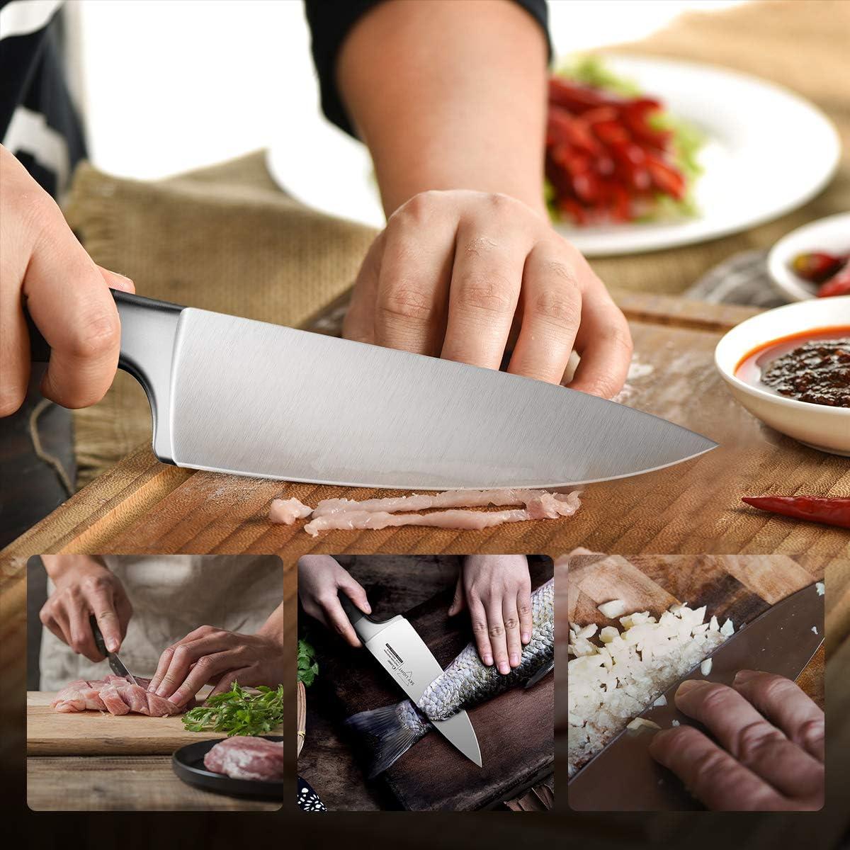 SKY LIGHT Cuchillo de Chef alem/án Acero Inoxidable de Alto Carbono Cuchillos de Cocina con Mango ergon/ómico